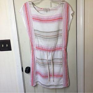 Loft pink, red & white striped dress